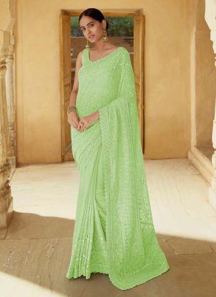 Fascination Green Color Georgette Base Weeding Wear Designer Saree