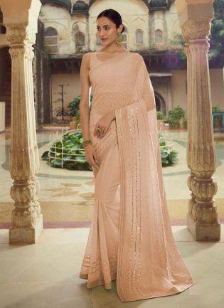 Magnificent Beige Color Georgette Base Party Wear Designer Saree