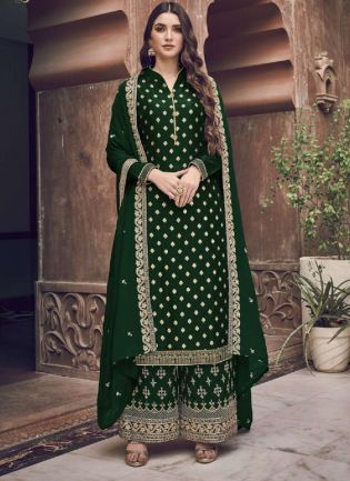 Splendid Green Embroidery Work Palazzo Salwar Suit