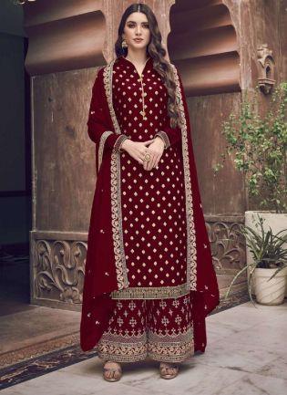 Splendid Maroon Embroidery Work Palazzo Salwar Suit