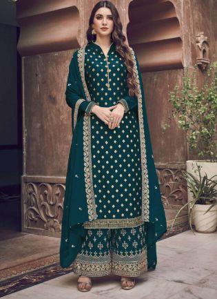 Splendid Teal Green Embroidery Work Palazzo Salwar Suit