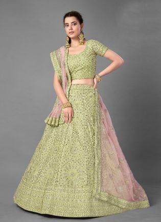 Dazzling Pista Green Color Art Silk Base Heavy Work Base Bridal Wear Lehenga Choli