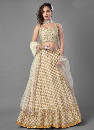 Cool White Color Heavy Look Party Wear Designer Lehenga Choli