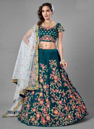 Chic Green Color Velvet Base Designer Look Flared Lehenga Choli