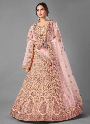 Fabulous Peach Color Georgette Base With Thread Work Wedding Wear Lehenga Choli
