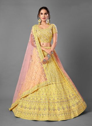 Sunshine Yellow Color Georgette Base With Heavy Work Bridal Wear Lehenga Choli