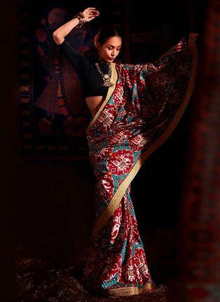 Multi Color Digital Print Party Wear Art Silk Saree