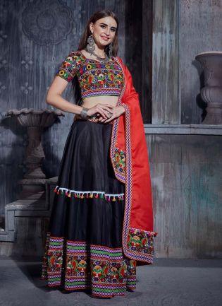 Exquisite Cotton Fabric Black Color Heavy Work Navratri Special Flared Lehenga