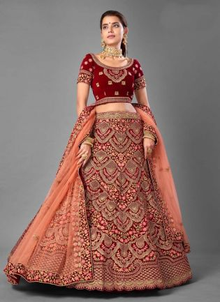 Velvet Fabric Resham And Dori Work Maroon Color Lehenga Choli