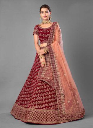 Splendid Velvet Fabric Stone And Dori Work Maroon Color Lehenga Choli