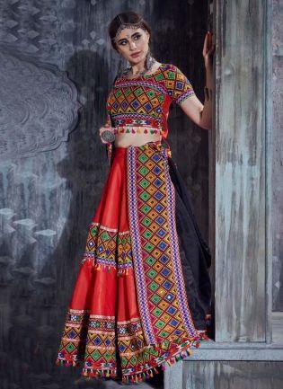 Cotton Fabric Red Color Resham And Mirror Work Navratri Special Lehenga Choli