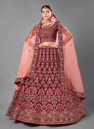 Stone And Resham Work Maroon Color Velvet Base Wedding Wear Lehenga