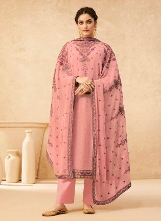 Splendid Pink Color Georgette Base Sequined Work Pant Style Salwar Suit