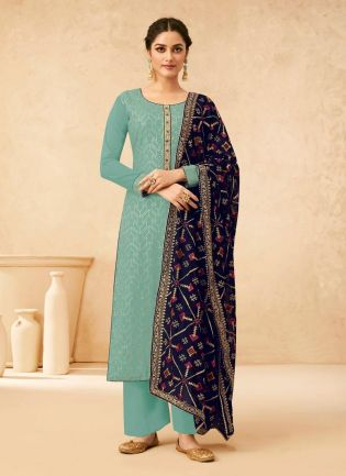 Aqua Marine Green Color Georgette Base Sequins Work Pant Style Salwar Kameez