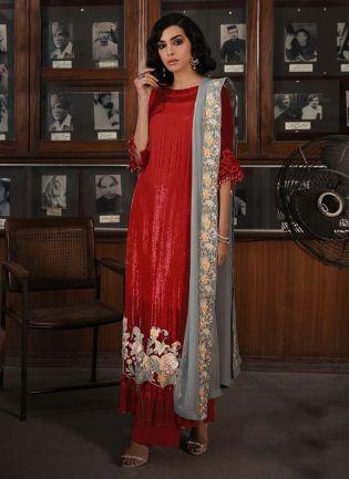 Enthralling Red Color Sequins Work Straight Pakistani Salwar Kameez