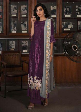 Soft Net Base Wine Color Sequins Work Straight Pakistani Salwar Kameez