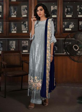 Light Grey Color Soft Net Base Sequins Work Pakistani Palazzo Salwar Suit