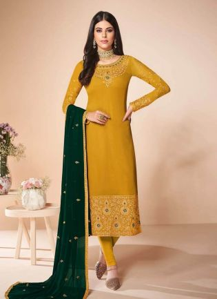 Stone Work Georgette Fabric Yellow Color Pant Style Salwar Kameez