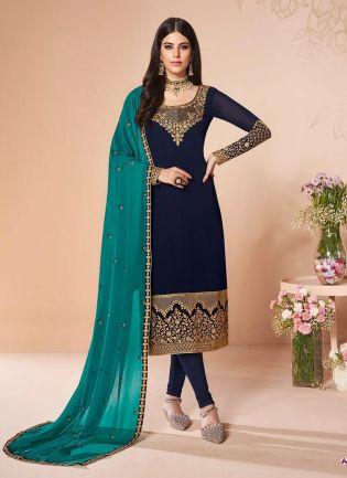Adorable Navy Blue Color Georgette Fabric Zari Work Pant Style Suit
