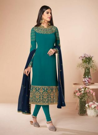 Turquoise Colored Georgette Fabric Stone Work Pant Style Salwar Suit