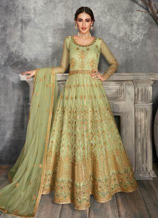 Magnificent Pastel Green Color Soft Net Base Anarkali Suit