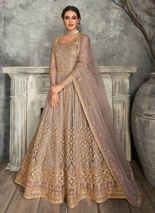 Adorable Light Mauve Color Soft Net Base Anarkali Suit