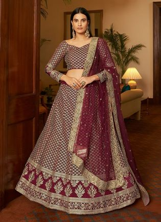 Adorable Look Maroon Color Dori And Sequins Base Wedding Wear Lehenga Choli