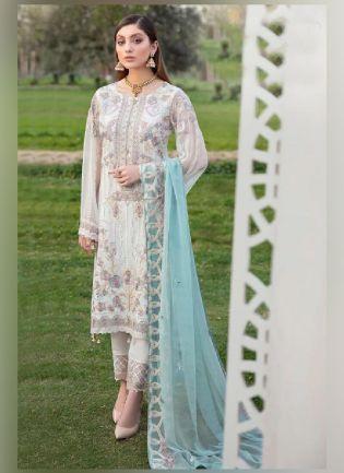 Impressive Off-White Color With Georgette Base Anarkali Suit