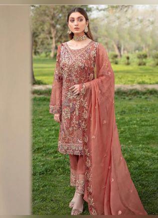 Amazing Peach color With Georgette Base Pakistani Suit