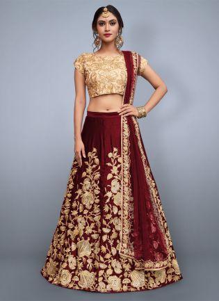 Delicate Maroon Heavily Embellished Wedding Wears Lehenga Choli