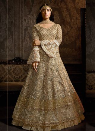 Glamorous Beige Color Georgette Base Embroidered Salwar Suit