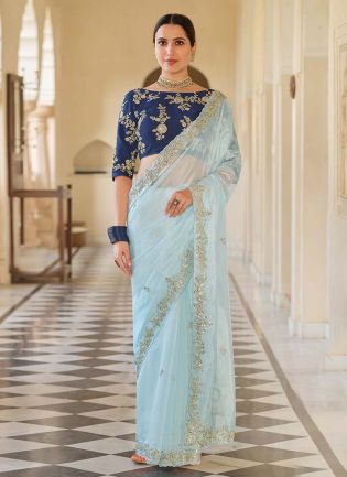 Sky Blue Color Organza Base Heavy Sequins Work Wedding Wear Saree With Designer Blouse