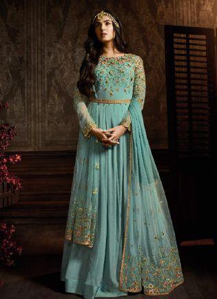 Dazzling Sky Blue Color Georgette Base Embroidered Salwar Suit