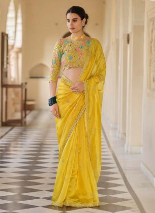 Lemon Yellow Color Organza With Embroidery Work Base Saree