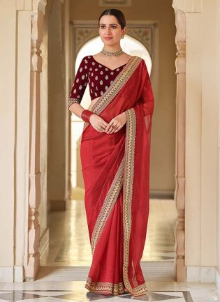 Elegant Red Color With Dori And Sequins Work Base Traditional Saree With Velvet Blouse