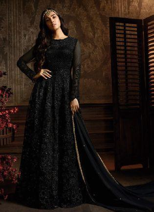 Ravishing Black Color Soft Net Base Anarkali Salwar Suit