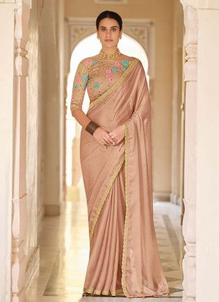 Mesmerizing Beige Color Party Wear Saree With Designer Blouse