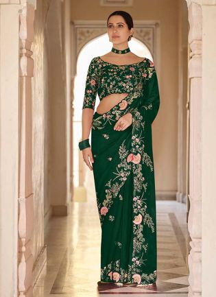 Eye-Catching Green Color Organza Base Heavy Worked Designer Saree