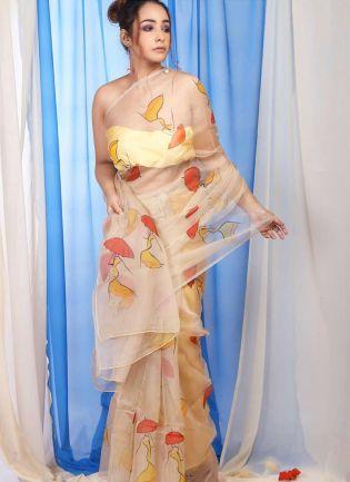 Beige Digital Print Organza Party Wear Printed Saree