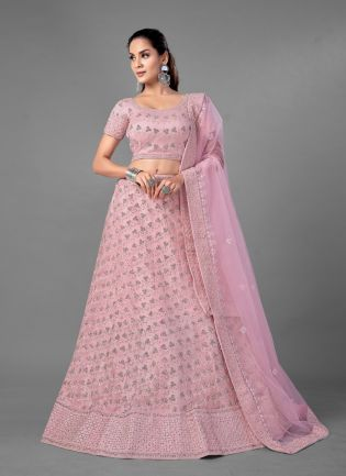 Stunning Pink Color Soft Net Base Heavy Work Bridal Lehenga With Same Color Blouse With Dupatta Set