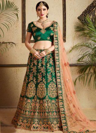 Modernistic Dark Green Heavily Embellished Bridal Lehenga Choli