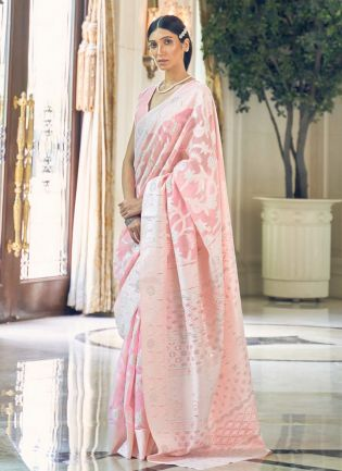 Glam Look Baby Pink Color Linen Fabric Base Lucknowi Look Saree