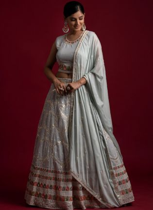 Grey Color Georgette Base With Gota And Lace Work Designer Look Lehenga Choli