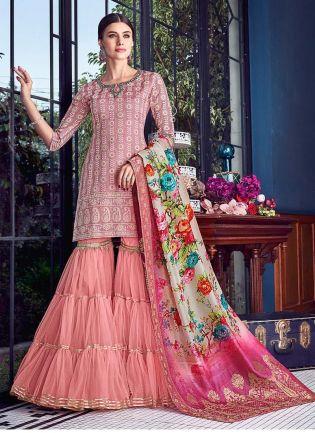 Silk Fabric Blush Pink Color Lucknowi Work Sharara Salwar Suit With Dupatta