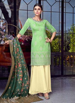 Light Green Color Silk fabric Stone And Lucknowi Work Sharara Salwar Suit