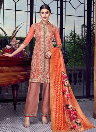 Coral Orange Color Silk fabric 3/4th Sleeves Lucknowi Work Pant Style Suit