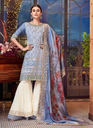 Exquisite Blue Color Silk Base Lucknowi Work Sharara Salwar Suit With Dupatta