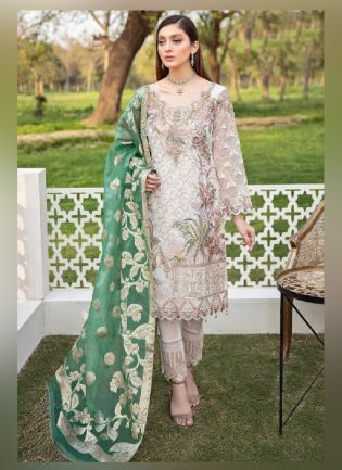 Dainty Cream Color With Georgette Base Pakistani Suit