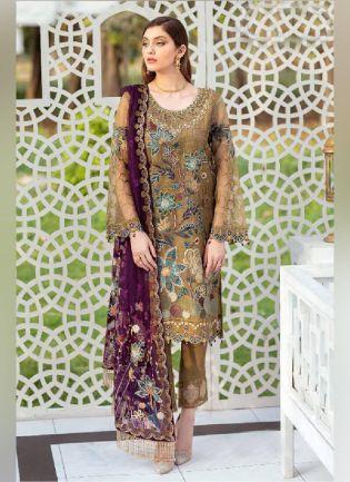 Gracious Brown Color With Georgette Base Pakistani Suit