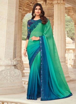 Attractive Blue And Green Shaded Partywear Designer Saree With Heavy Blouse